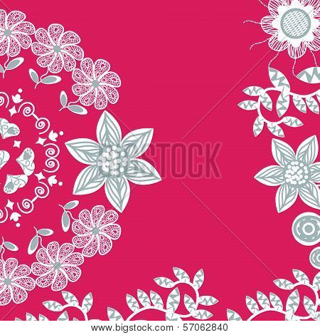 Cute Red Floral Card With Place For Text