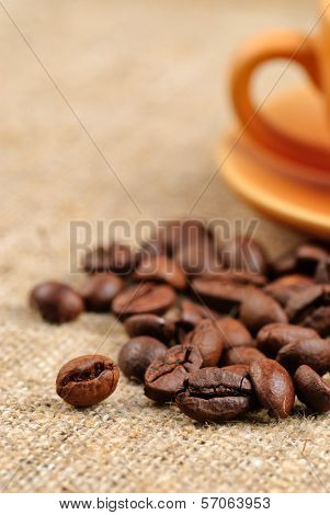 Coffee Beans On The Bagging