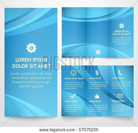 Professional three fold business flyer template, vector.