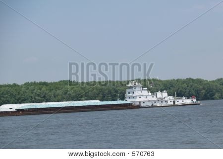 Tow Boat With Barges