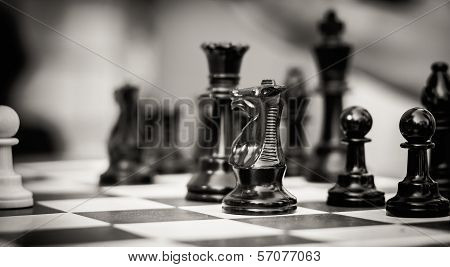 Chess Figures On Playing Board