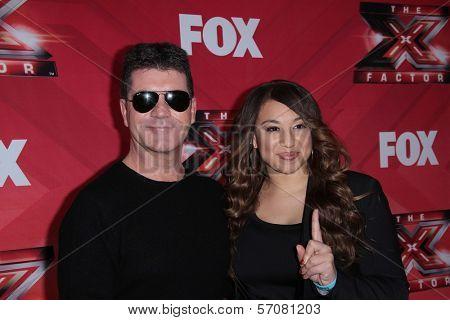 Simon Cowell and Melanie Amaro at