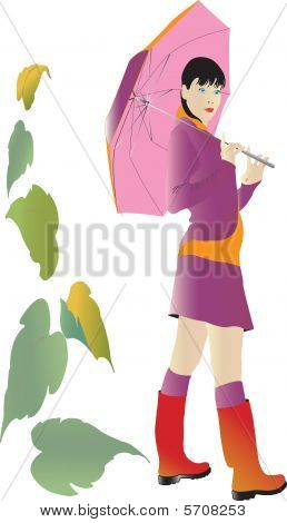 Girl with umbrella at autumn