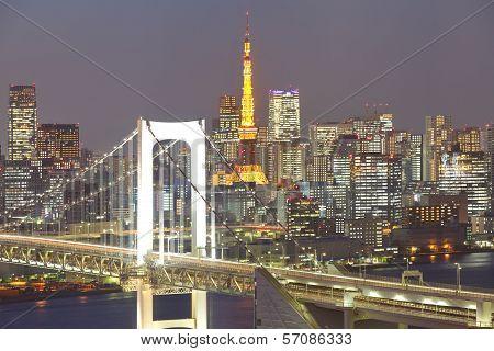 Tokyo Bay at Rainbow Bridge and tokyo tower