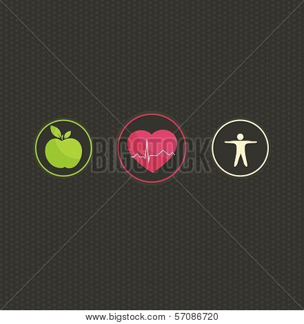 Healthy Lifestyle Concept Symbol Set
