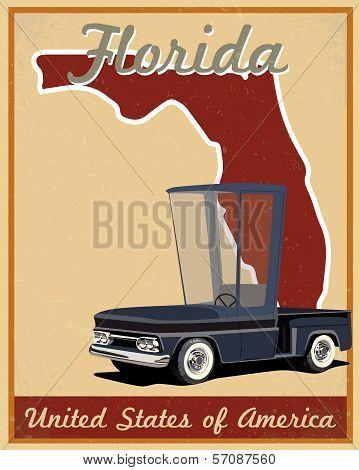 Florida road trip vintage poster