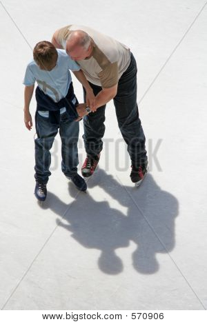 Father And Son Ice Skating