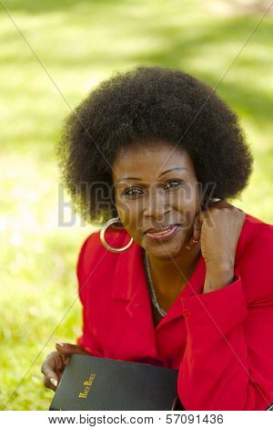 Outdoor Portrait Older Black Woman Red Jacket