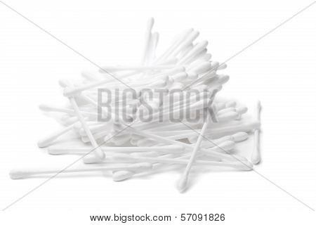 Cotton Swabs In Bulk On A White Background
