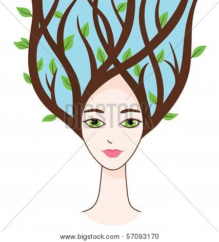 Vector illustration of woman face with symbols of spring