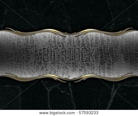 black background with a metal name plate for writing.