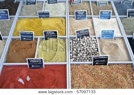 Colored spices for background.