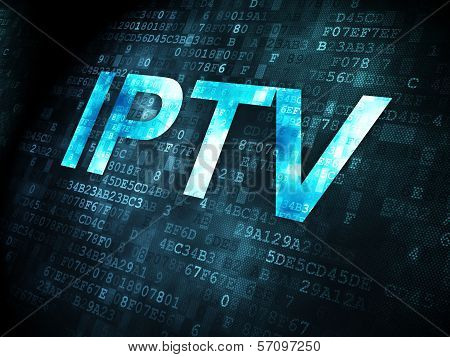 web development concept: IPTV on digital background