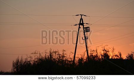Power Transmission Line In Sun