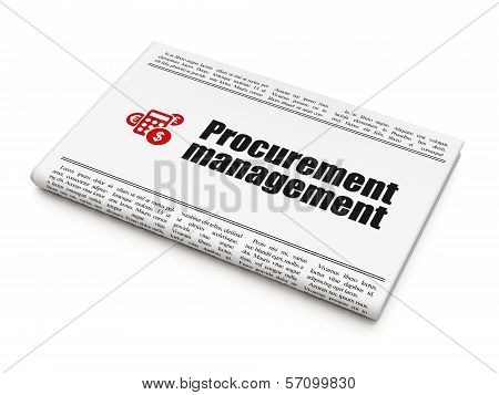 Business concept: newspaper with Procurement Management and Calculator