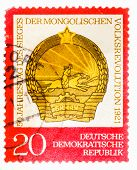 Postcard Printed In The Gdr Shows The Date Of The 50Th Anniversary Of The Victory Of The Mongolian P