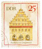 Stamp Printed In German Democratic Republic (east Germany) Shows Greifswald Town Hall