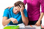 pic of empathy  - Tired and depressed student is supported by friend - JPG