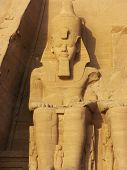 stock photo of ramses  - Statue in Temple of King Ramses II in Abu Simbel Egypt - JPG
