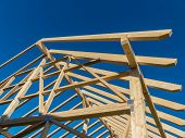 pic of joinery  - in a house a new roof is built on a construction site - JPG