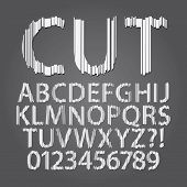 Vertical Paper Cut Alphabet And Digit Vector