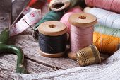 stock photo of knitting  - Set of tools for sewing - JPG