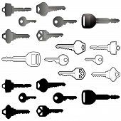 image of car keys  - Collection of vector keys in three different styles - JPG