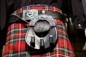 stock photo of kilt  - A Scottish kilt with its sporran - JPG