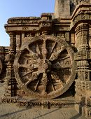 stock photo of chariot  - Wheel Of Chariot At Konark Sun Temple Orissa India - JPG
