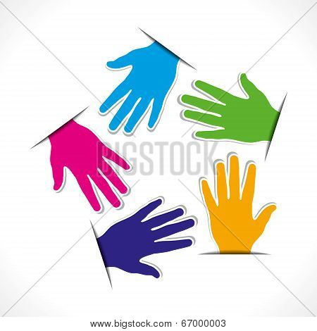 colorful hand label background vector