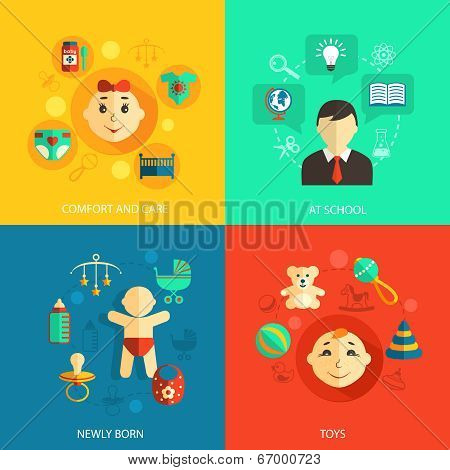 Children concept flat icons