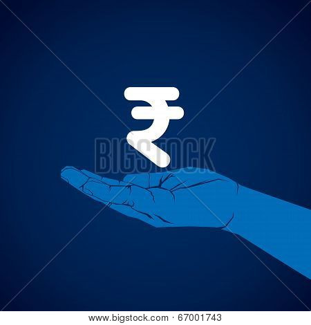 rupee symbol in hand vector