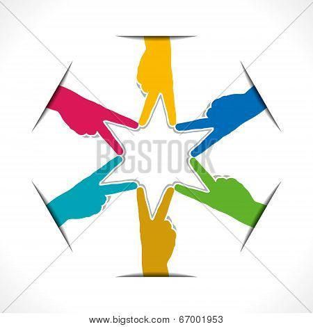 colorful hand victory sign arrange in round shape vector