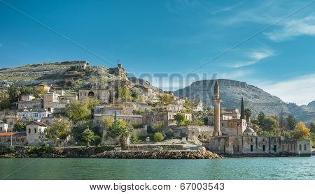 Sunken village in Halfeti Gaziantep Turkey