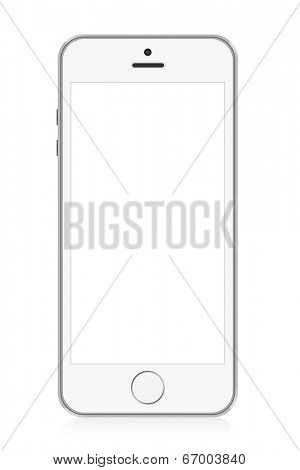 White modern smart phone illustration. Perfectly detailed. Isolated on white background