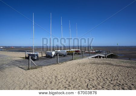 Boats On Jubilee Beach, Southend-on-sea, Essex, England