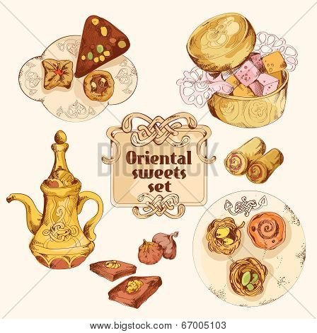 Oriental sweets colored set