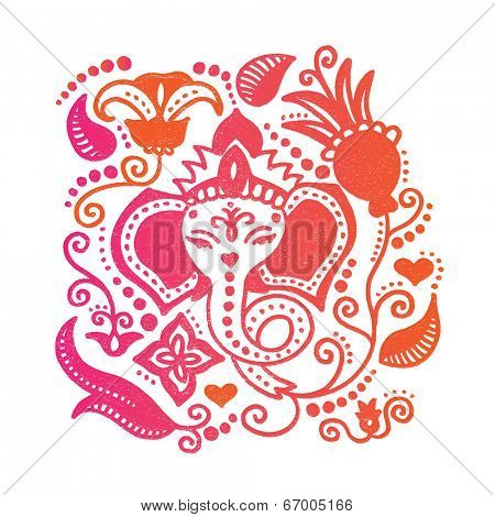 Lord Ganesh Indian god with lotus flower colorful oriental doodle hand drawn illustration in vector