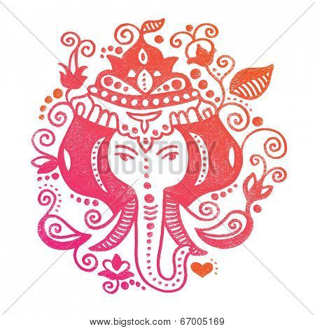 Lord Ganesh Indian god colorful oriental doodle hand drawn illustration in vector