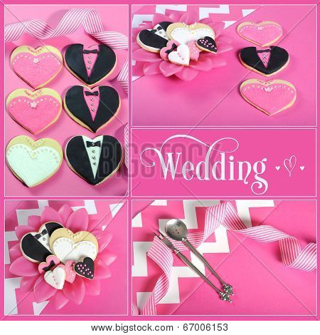 Wedding Collage Of Four Pink, Black And White Bride And Groom Heart Shape Cookies