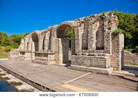 Remains of the ancient Baptistery from the 6th century at Butrint, Albania.