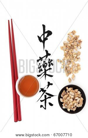 Ginseng herb with chinese calligraphy script, teacup and chopsticks over white background, Translation reads as chinese herbal tea.