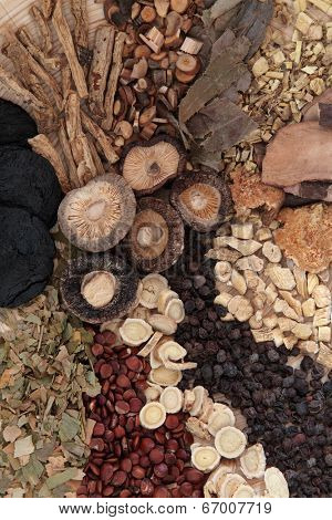 Chinese herbal medicine selection forming a background.