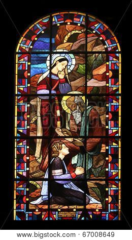 PARIS,FRANCE NOV 07:Saint Paule-Saint Jerome, Notre-Dame de Clignancourt church located in the 18th arrondissement of Paris. Completed in 1863. Windows are from the Art Deco period. On Nov 07 in Paris