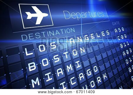 Digitally generated blue departures board for american cities