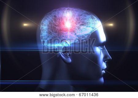 Brain diagram in human head on black background