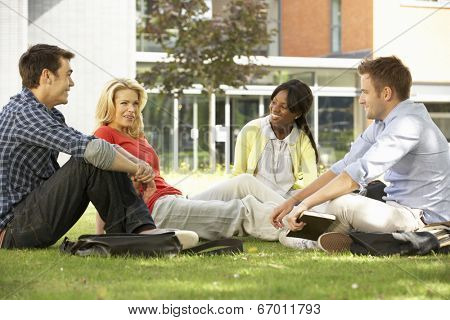 Mixed group of students outside college
