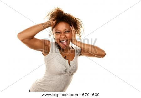 Pretty African-american Woman Screaming Playfully