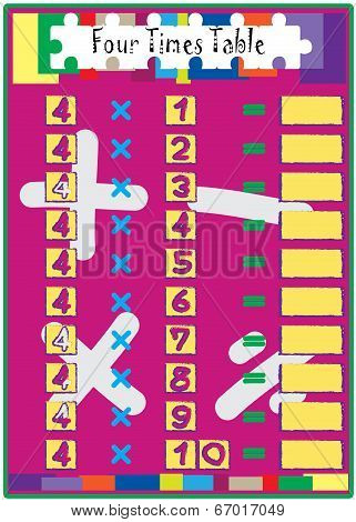 Multiplication Math Drill With Four Times Table