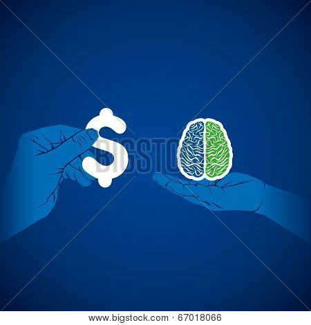 exchange brain with  money vector